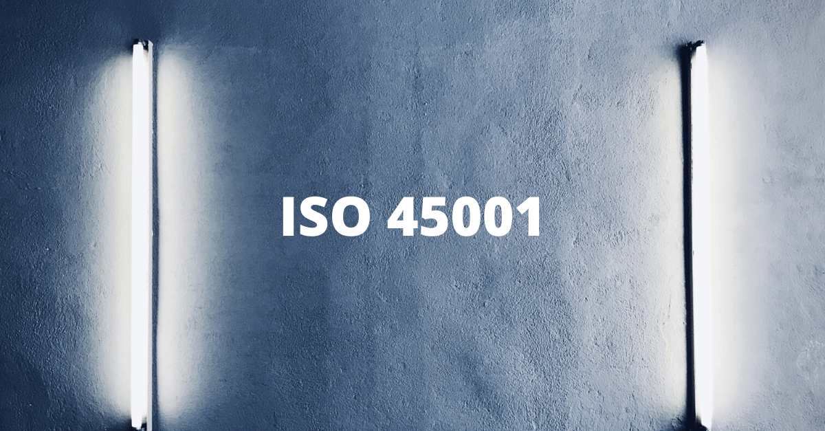 ISO 45001 on background with lights