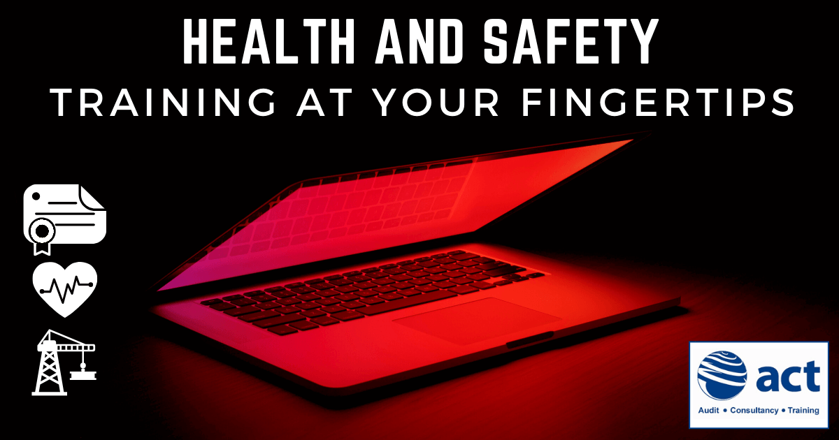 Laptop with the caption health and safety training at your fingertips and ACT logo